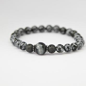 Браслет мужской из натуральных камней в серебре