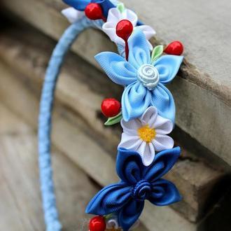 Синий ободок для волос  Канзаши Подарок девочке на День рождения