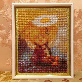 """Картина 5D """"Солнечный Ангел"""" с ромашкой,  выложенная алмазными стразами"""