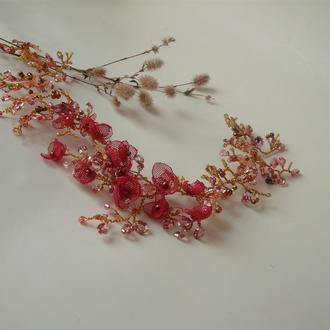 Веточка в прическу.Свадебное украшение для волос.Украшение в прическу.Веточка для волос с цветами.