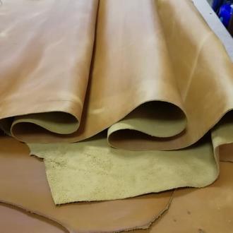 Натуральная кожа Крейзи Хорс 1.4-1.6 мм. Для ручной работы жёлтый (горчичный) цвет