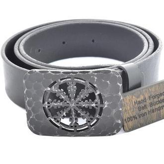 Чёрный ремень под джинсы с железной бляхой на которую нанесена руна