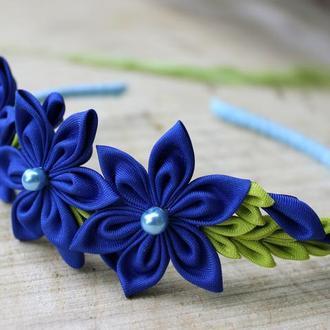 Синий ободок для волос для подруги невесты, Подарок девушке на день рождения