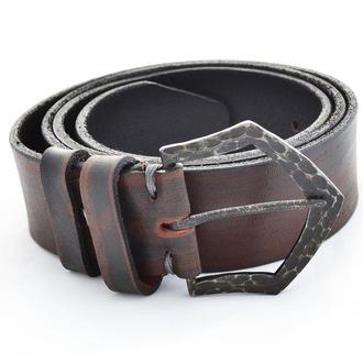Тёмно-коричневый ремень изготовлен с итальянской кожи и кованной пряжки