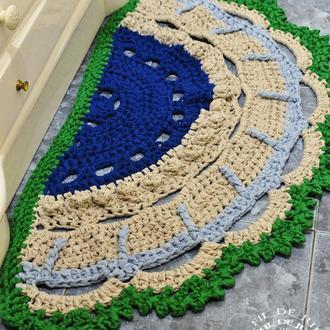 Вязаный ажурный ковёр из трикотажной ленты / В'язаний ажурний килим з трикотажної стрічки