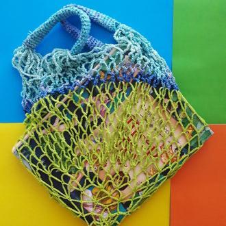 Авоська слатный+переходы голубого, оригинальная сумка для покупок, стильная экосумка