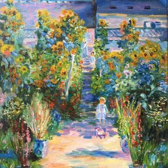 """Вільна копія роботи Клода Моне """"Сад художника в Ветее"""", полотно, олія 30*40."""