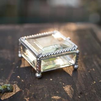 Стеклянная шкатулка для обручальных колец или помолвочного кольца