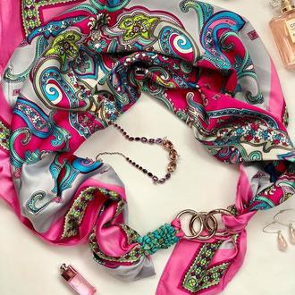 """""""Розовые мечты"""" Атласный платок, шарф, шарф-колье, шарф-чокер, шейный платок, подарок женщине"""