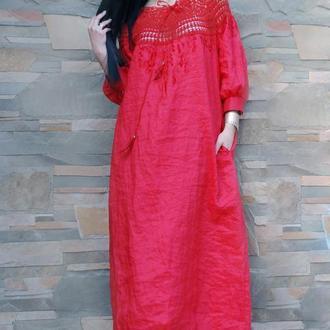 """Длинное льняное платье с вязаной кокеткой """"Алый восход"""" вышитое платье"""