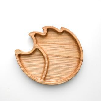 Деревянная тарелка в форме ёжика