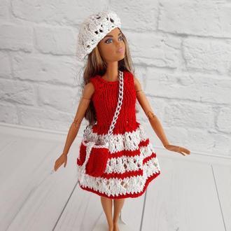 Одяг для ляльок Барбі, комплект червоно-біле плаття з сумочкою і беретом, подарунок дівчинці