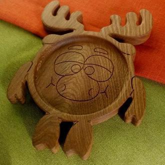 """Детская тарелка из дерева """"Лосяш"""".(с мультфильма """"Смешарики"""")"""