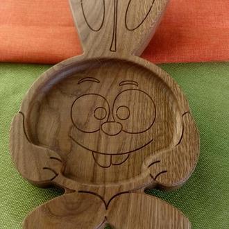 """Детская тарелка из дерева """"Крош"""".(с мультфильма """"Смешарики""""). Детская посуда. Экопосуда для детей."""