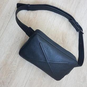Кожаная сумка на пояс / через плечо унисекс