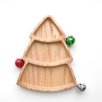 Деревянная тарелка Елочка