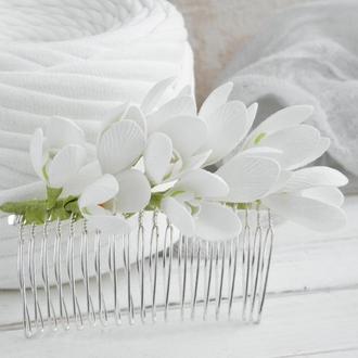 Гребень для волос с подснежниками, Свадебный гребешок с цветами в прическу