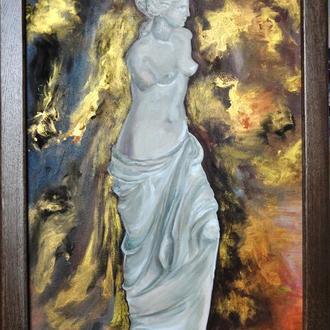 """""""Золотая Афродита"""", 80х50 см, живопись маслом, сияющая картина"""