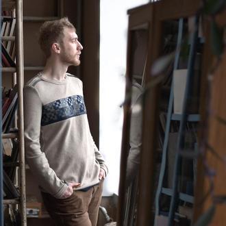 Шерстяний рукОтвір з плетеним орнаментом