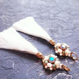 Позолочені сережки з кристалами Swarovski , натуральними перлами серьги с жемчугом сережки свадебные
