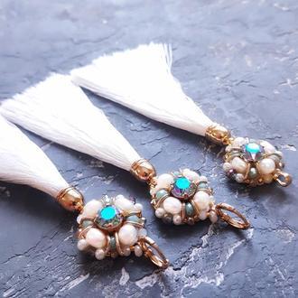 Позолочений комплект з кристалами Swarovski та натуральними перлами серьги с жемчугом кулон кисти