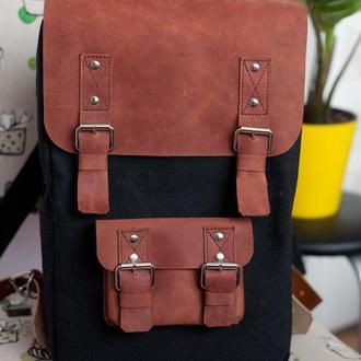 """Городской рюкзак """"Snuggy"""" из водоотталкивающего брезента и кожи"""