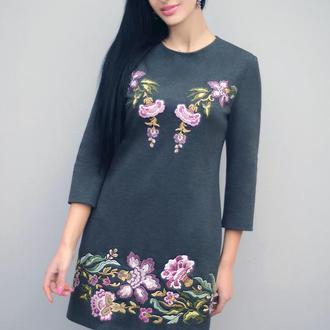 """Платье с вышивкой """"Сиреневое цветение"""" вышитое трикотажное платье"""