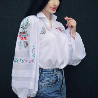 """Вышитая блуза """"Норвежские мотивы"""" блуза с вышивкой, белая блуза"""