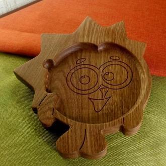 """Тарелка детская из дерева """"Ёж"""" ( с мультфильма """"Смешарики"""")"""