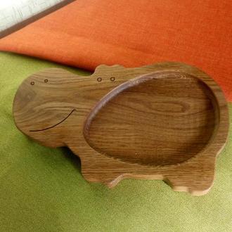 """Детская тарелка из дерева """"Бегемотик"""". Детская посуда. Декоративная тарелка. Экопосуда для детей"""