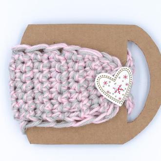 Вязаный чехол-повязка нежно-розовый с серым