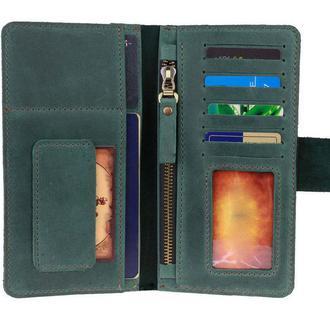 Именной кошелёк с гравировкой, мужской кошелёк, женский кошелек, портмоне Type 4 Зеленый