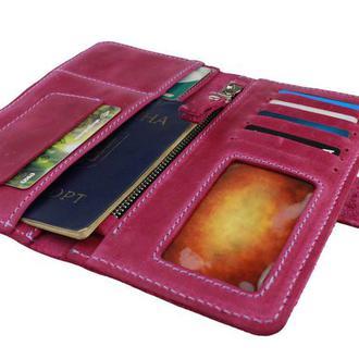 Именной кошелёк с гравировкой, мужской кошелёк, женский кошелек, портмоне Type 4 Фуксия (пурпурный)