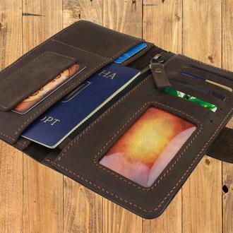 Именной кошелёк с гравировкой, мужской кошелёк, женский кошелек, портмоне Type 4 Темно-коричневый