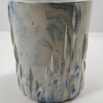стакан для виски из бетона,  в стиле Loft - белый с голубым