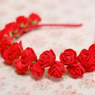 """Обруч ободок """"Красные розы"""""""