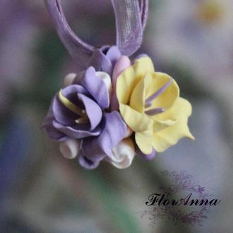 """Кулон ручной работы """"Лимонный фиолет"""""""