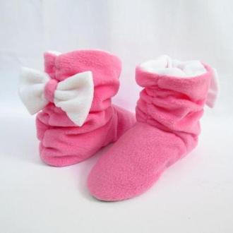 Тапочки Бантики розовые с белым бантом