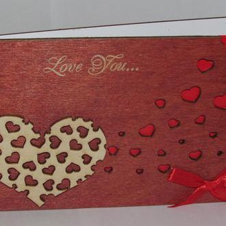 Открытка из дерева Love you - Сердце, объёмная