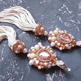 Позолоченные серьги с кристаллами Swarovski и натуральным жемчугом серьги кисти подарок 8 марта