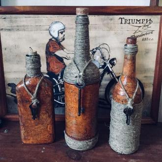Бутылки декоративные (декупаж)