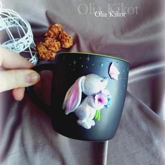 """Кружка Чашка """" Серебрянный зайчик """" декор полимерная глина, подарок, день Святого Валентина."""