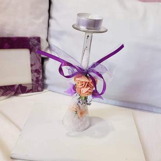 Подсвечник-бокал с цветами