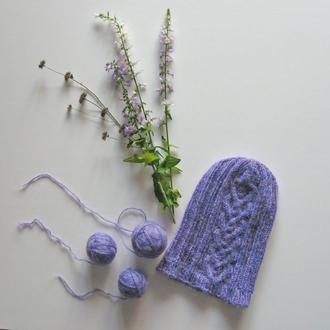 """Стильная шапка для девушки с орнаментом """"Сердце"""""""