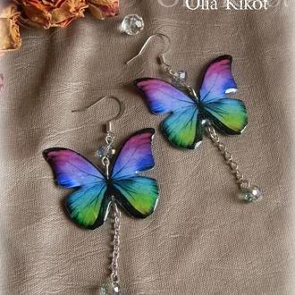 Воздушные серьги бабочки