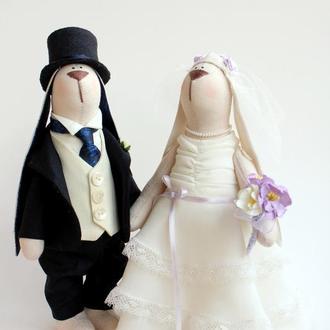Свадебная пара зайцев (темно-синий и айвори )