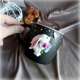 """Кружка Чашка """" Милый зайчик """" декор полимерная глина, подарок день Святого Валентина."""
