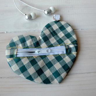 Сердечко-брелок, чехол для наушников 05// Сердечко-брелок, чохол для навушників 05