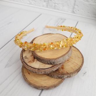 Обруч из натуральных камней желтый сахарный кварц, желтый обруч, оболок для волос с камнями