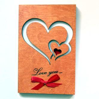 Открытка из дерева Love you - Два сердца, фигурная